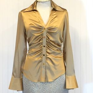 CACHE Gold Silk Button Front Ruched Blouse Size S